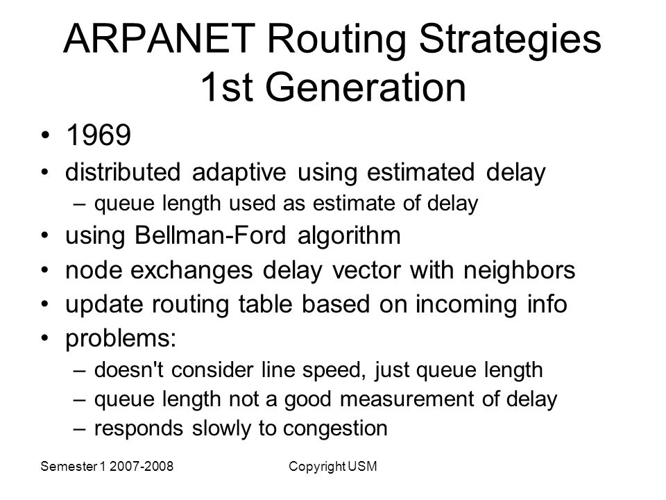 ARPANET Routing Strategies 1st Generation