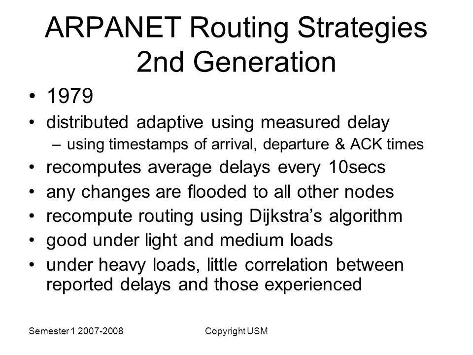 ARPANET Routing Strategies 2nd Generation