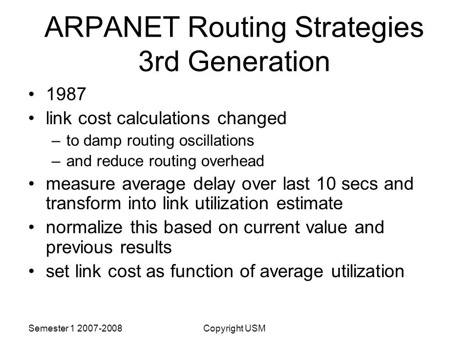 ARPANET Routing Strategies 3rd Generation
