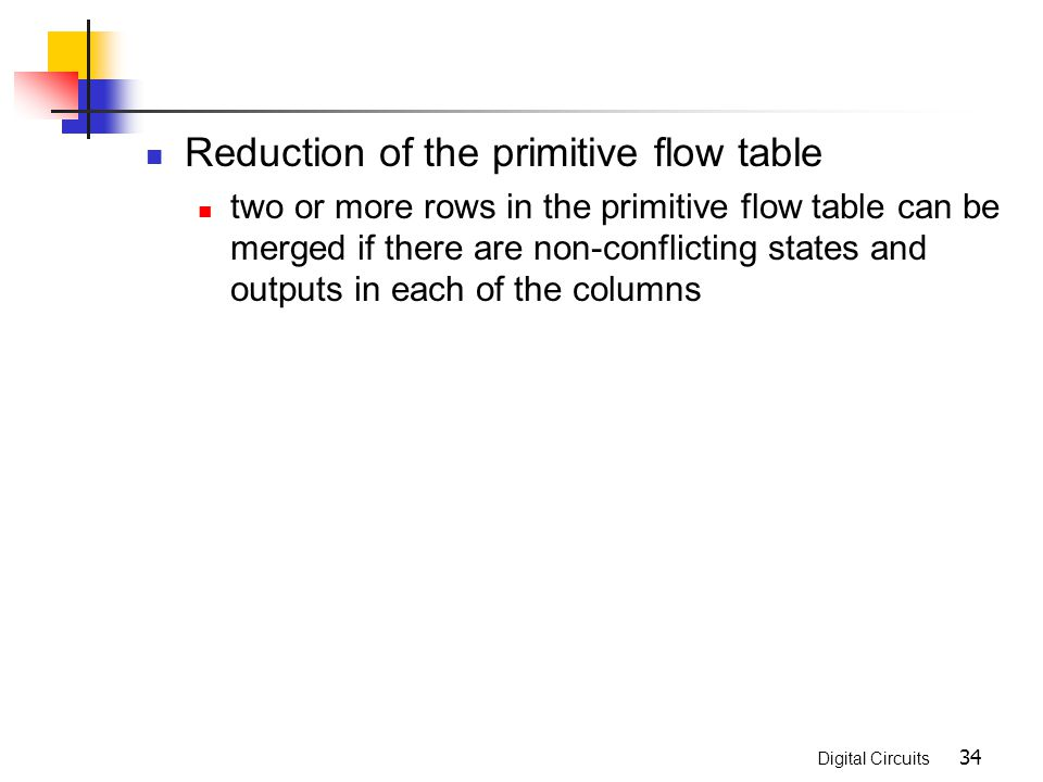 Asynchronous sequential logic ppt video online download reduction of the primitive flow table ccuart Gallery