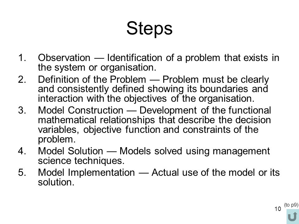 Steps Observation — Identification of a problem that exists in the system or organisation.