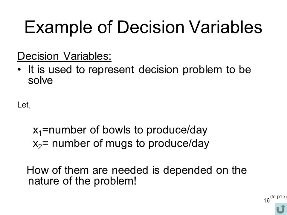 Example of Decision Variables