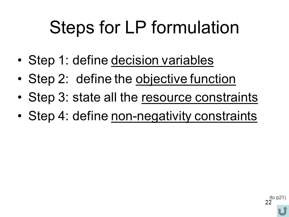 Steps for LP formulation