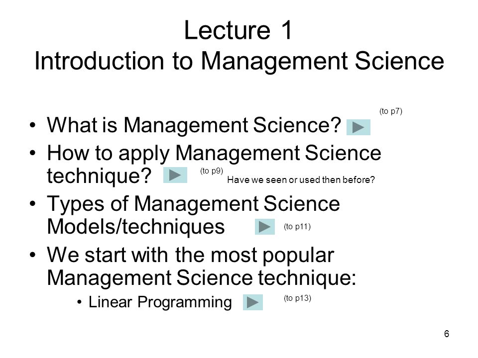Lecture 1 Introduction to Management Science