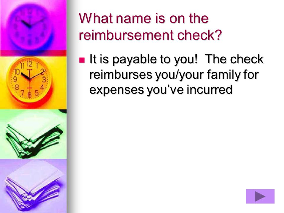 What name is on the reimbursement check