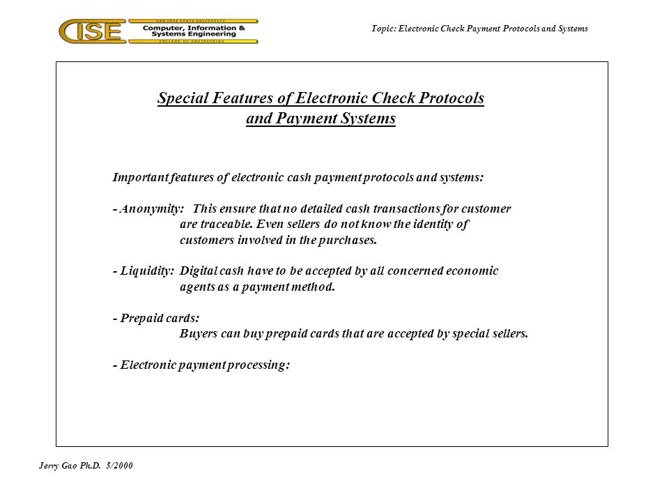 Electronic Check Payment Protocols and Systems - ppt video