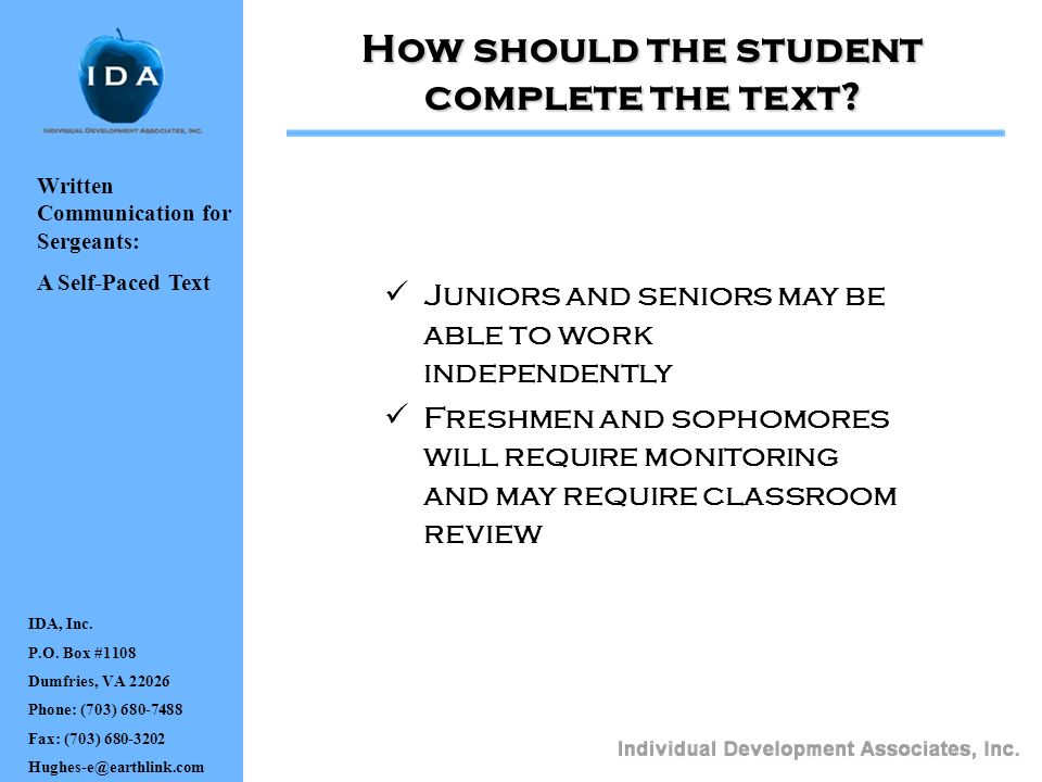 How should the student complete the text
