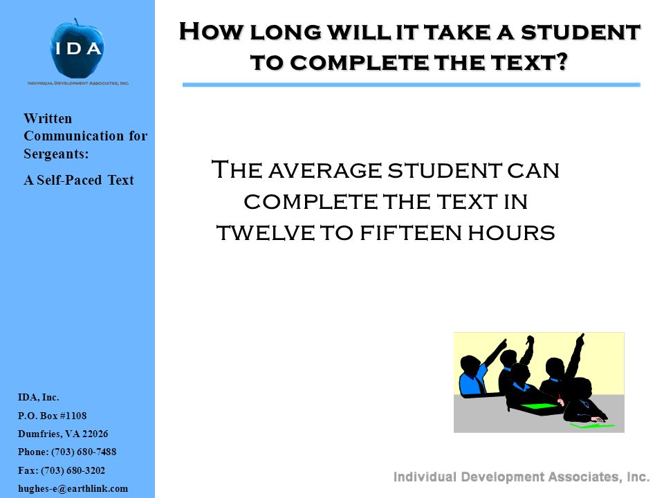 How long will it take a student to complete the text
