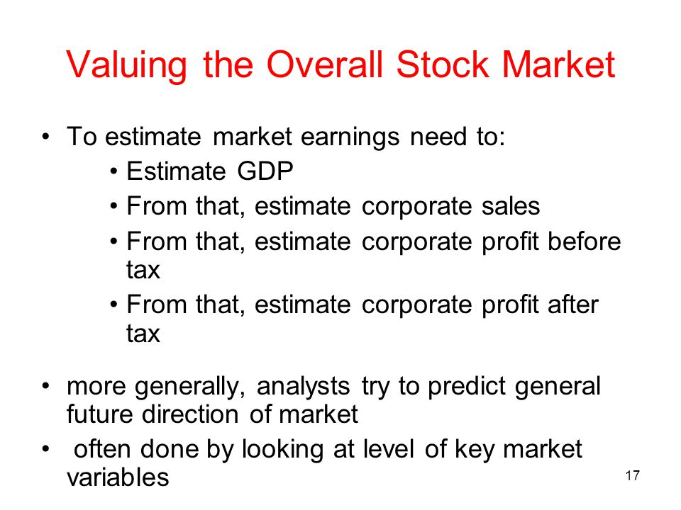 Valuing the Overall Stock Market