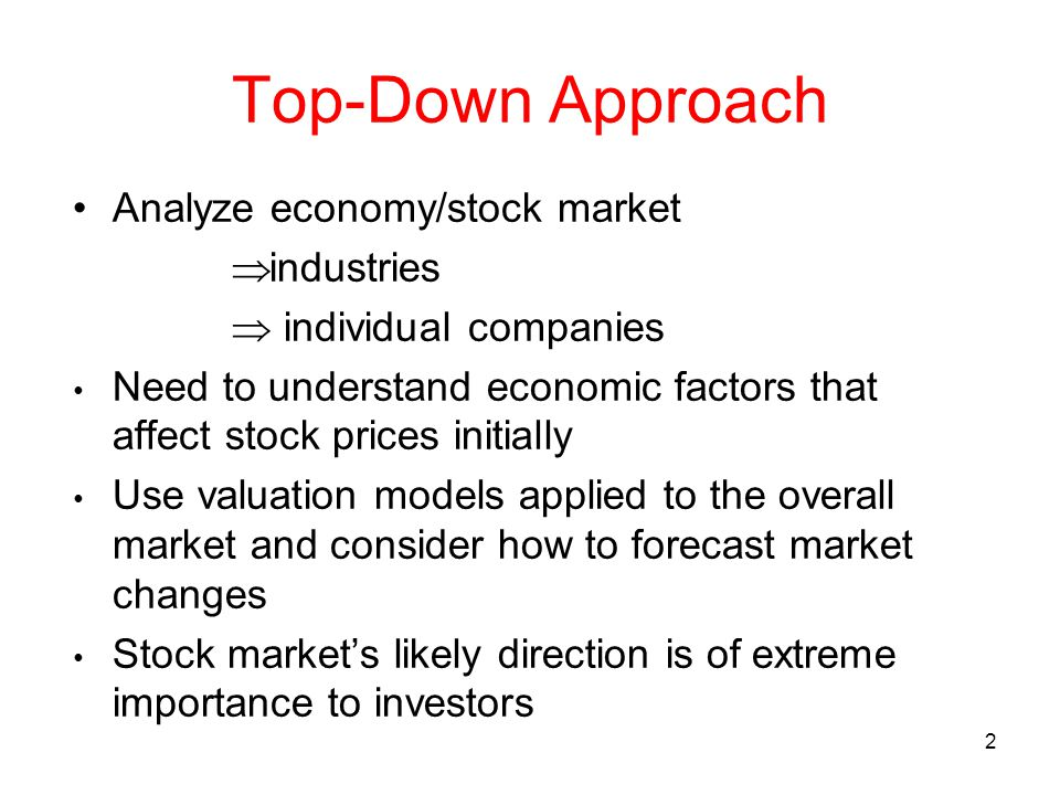 Top-Down Approach Analyze economy/stock market industries