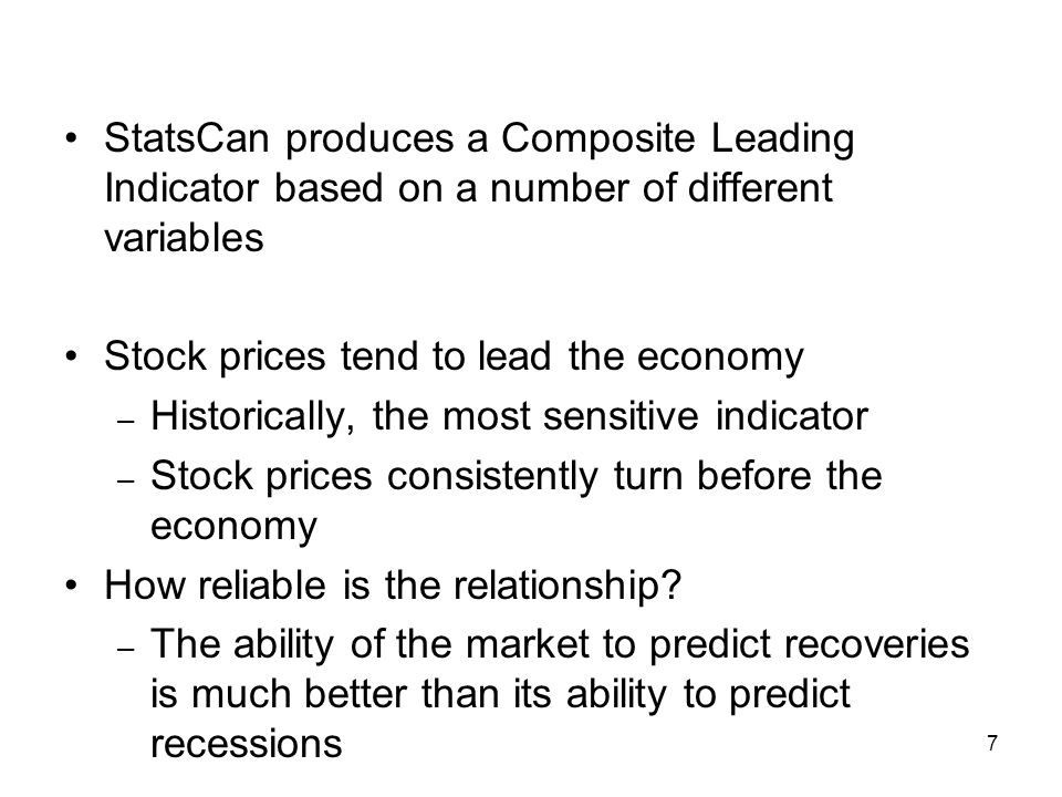 StatsCan produces a Composite Leading Indicator based on a number of different variables