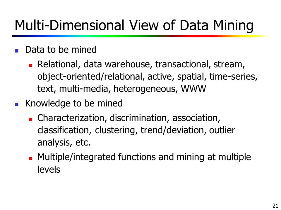 Multi-Dimensional View of Data Mining