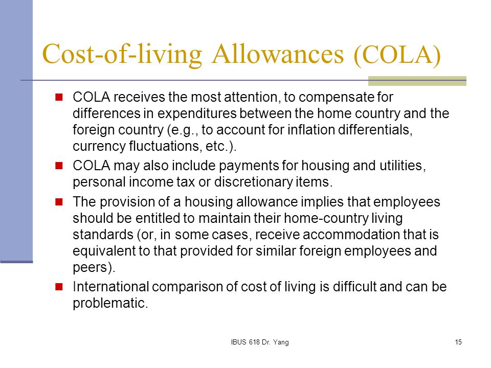 cost of living allowance meaning