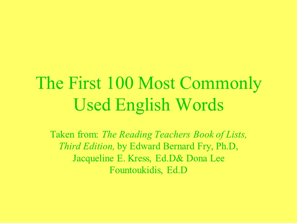 The First 100 Most Commonly Used English Words