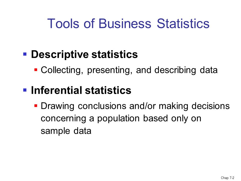 Tools of Business Statistics