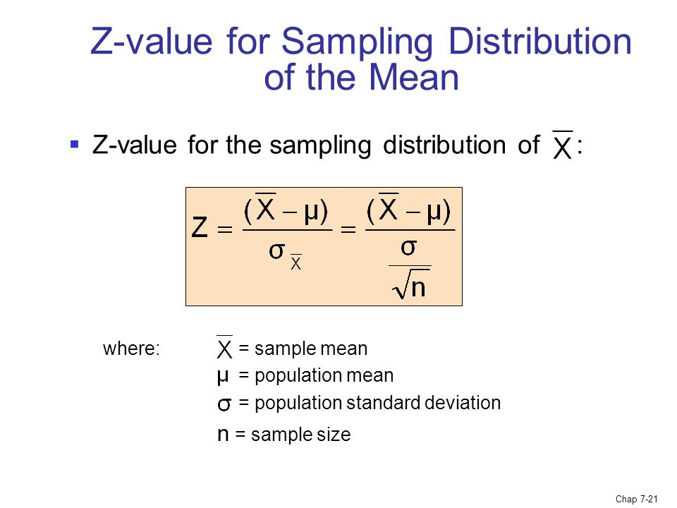 Z-value for Sampling Distribution of the Mean