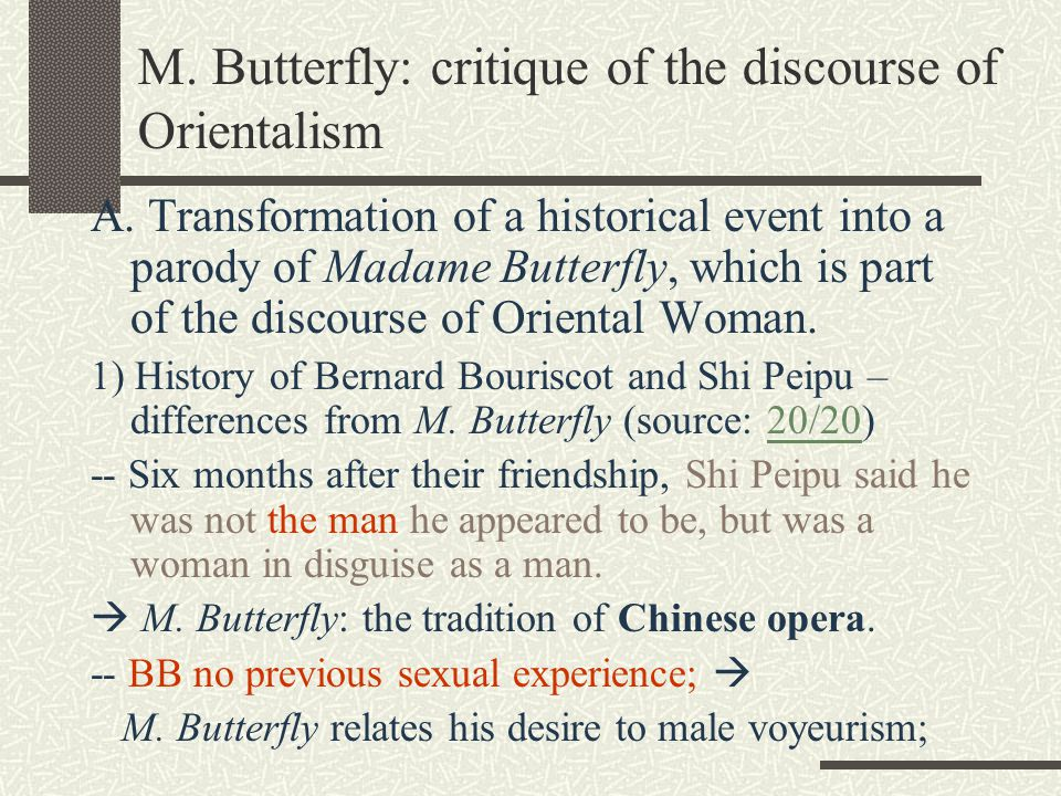 M butterfly sexuality and depression