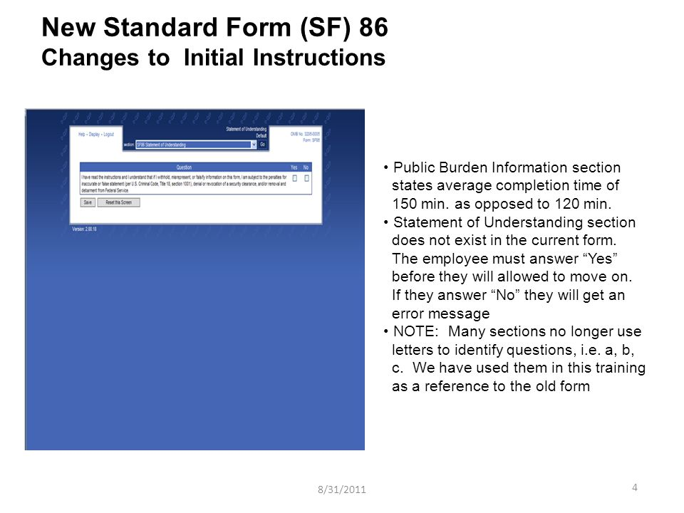 New Standard Form Sf 86 Jpas Release Information Ppt Video