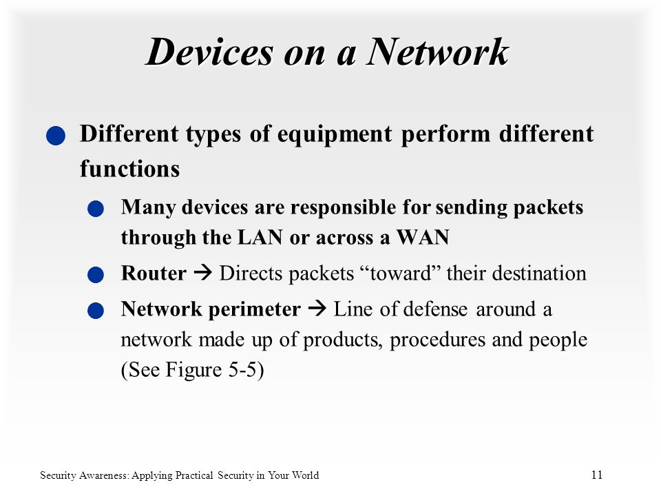 Devices on a Network Different types of equipment perform different functions.