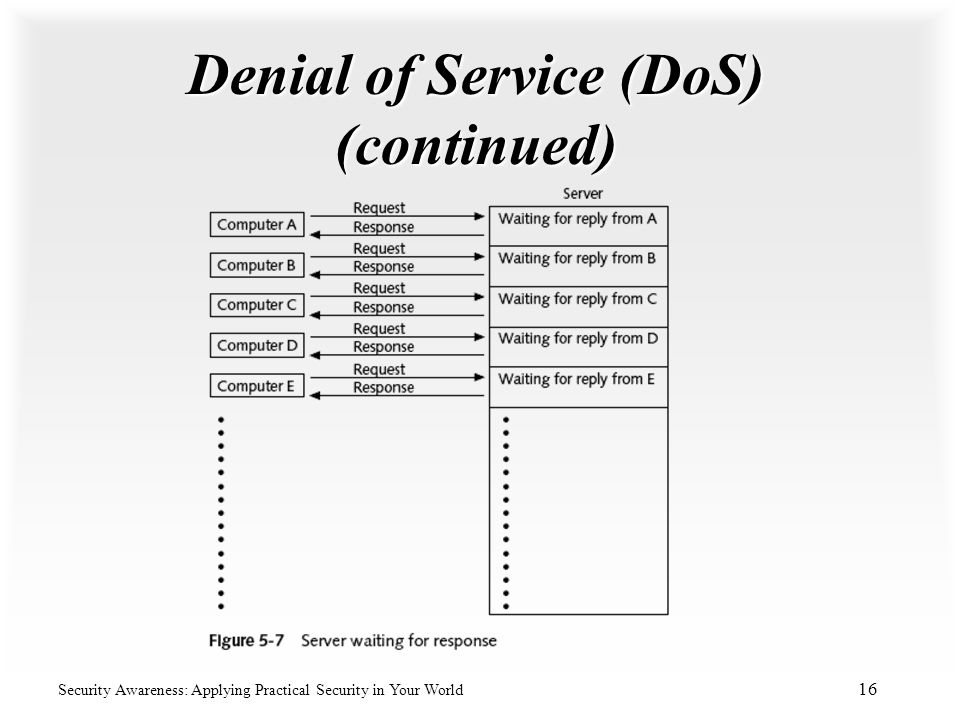 Denial of Service (DoS) (continued)