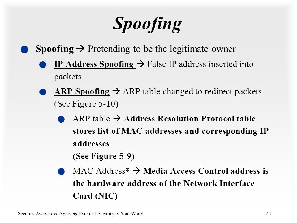 Spoofing Spoofing  Pretending to be the legitimate owner