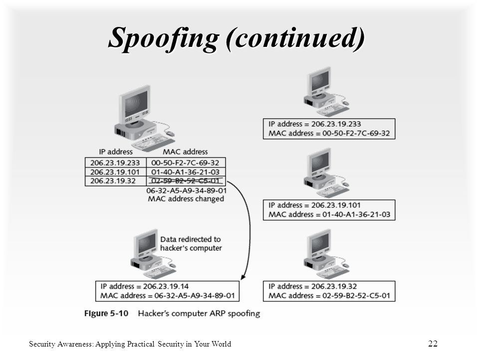 Spoofing (continued) Security Awareness: Applying Practical Security in Your World