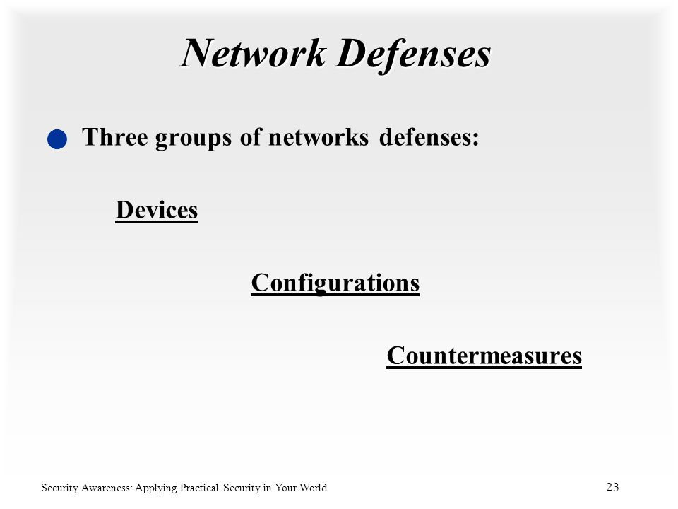 Network Defenses Three groups of networks defenses: Devices Configurations Countermeasures.