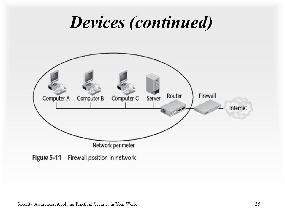 Devices (continued) Security Awareness: Applying Practical Security in Your World