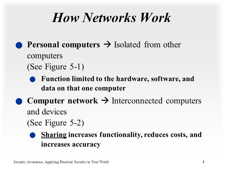 How Networks Work Personal computers  Isolated from other computers (See Figure 5-1)