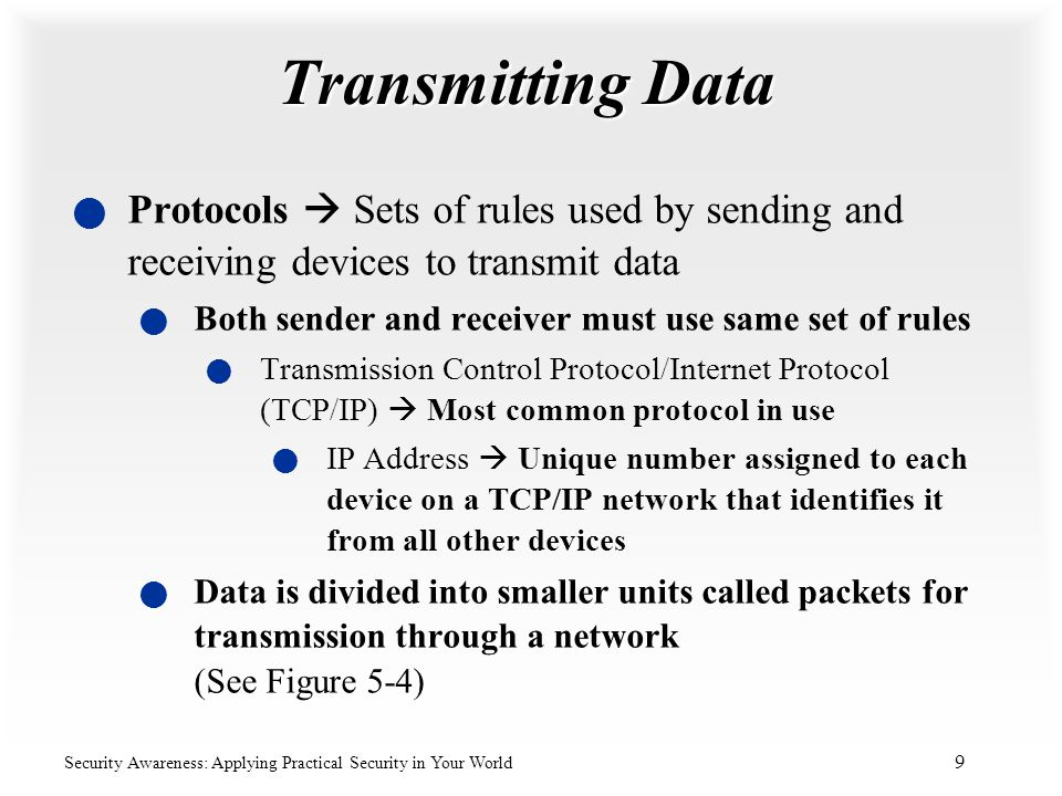 Transmitting Data Protocols  Sets of rules used by sending and receiving devices to transmit data.