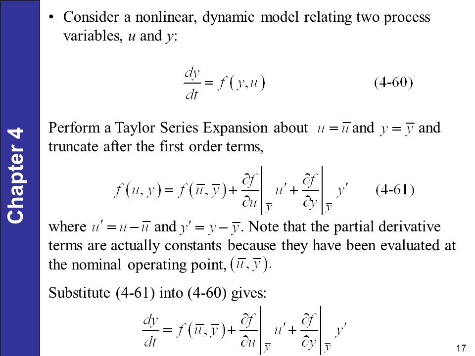 Consider a nonlinear, dynamic model relating two process variables, u and y: