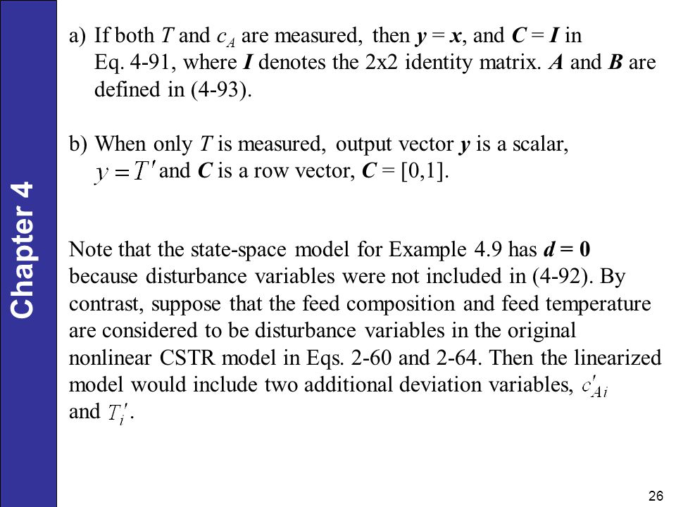 If both T and cA are measured, then y = x, and C = I in Eq