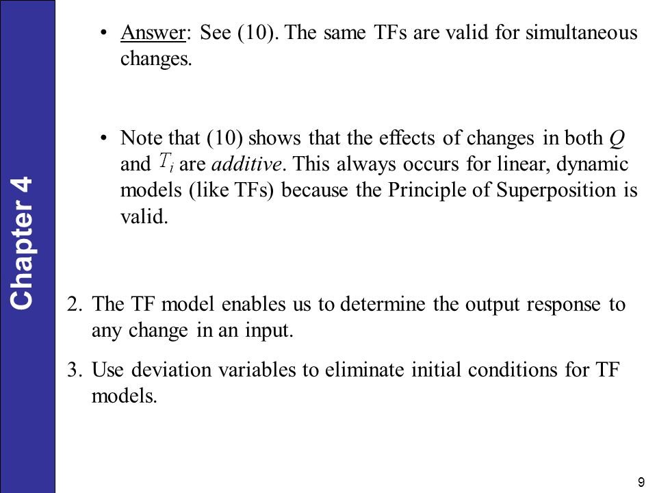 Answer: See (10). The same TFs are valid for simultaneous changes.