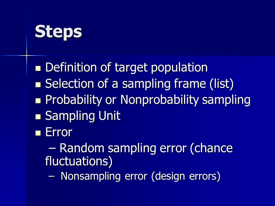 Steps Definition of target population