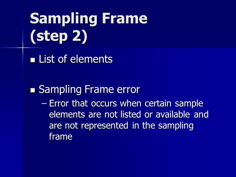 Sampling Frame (step 2) List of elements Sampling Frame error