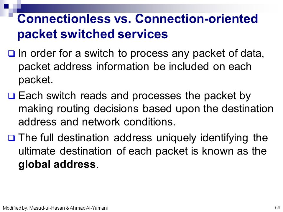 how to tell if connection oriented or connectionless