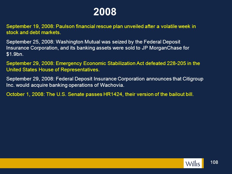 2008 September 19, 2008: Paulson financial rescue plan unveiled after a volatile week in stock and debt markets.