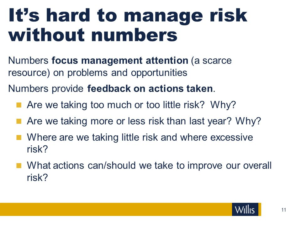 It's hard to manage risk without numbers