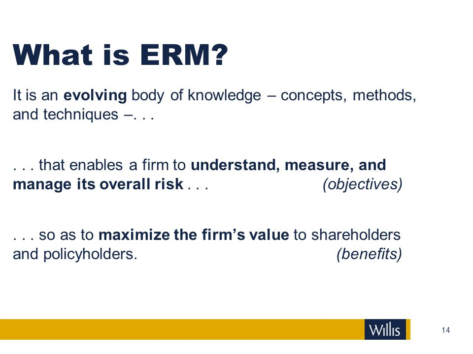 What is ERM It is an evolving body of knowledge – concepts, methods, and techniques –. . .