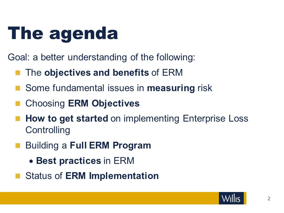 The agenda Goal: a better understanding of the following: