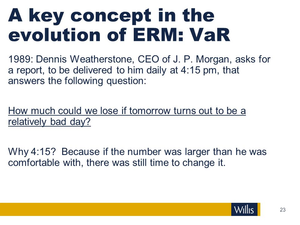 A key concept in the evolution of ERM: VaR