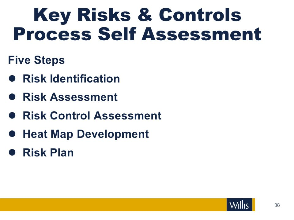 Key Risks & Controls Process Self Assessment