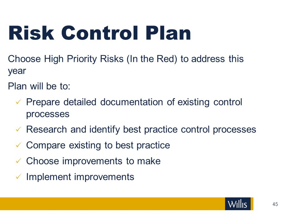 Risk Control Plan Choose High Priority Risks (In the Red) to address this year. Plan will be to:
