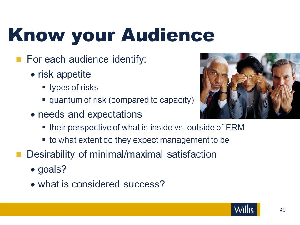 Know your Audience For each audience identify: risk appetite