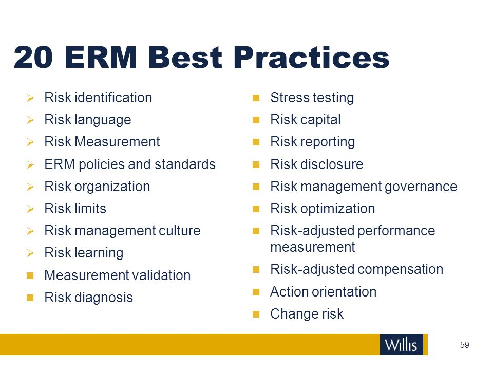 20 ERM Best Practices Risk identification Risk language
