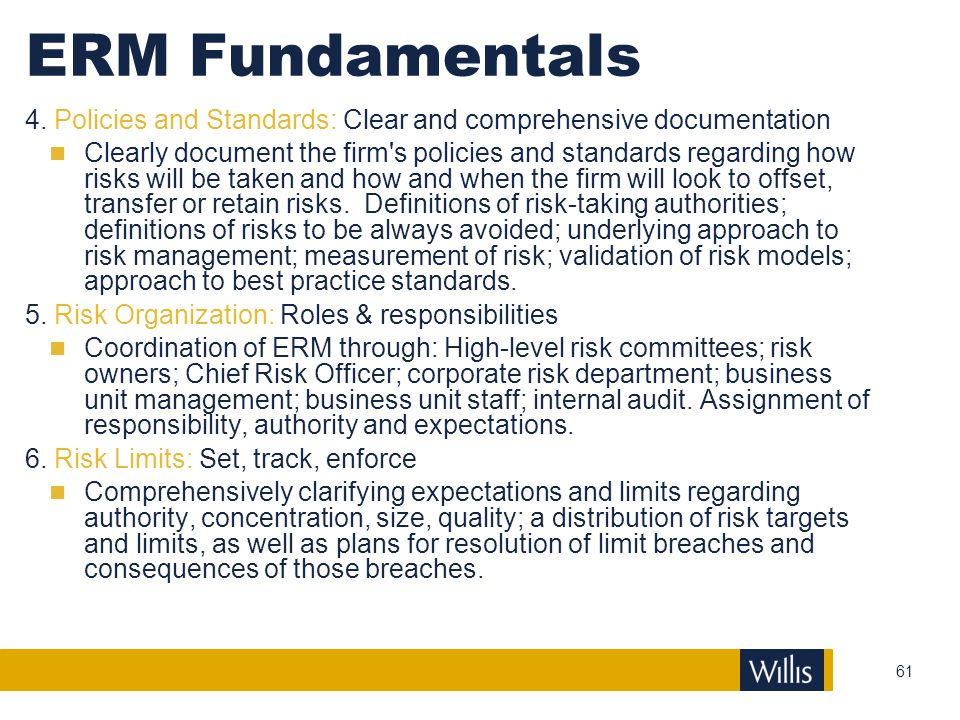 ERM Fundamentals 4. Policies and Standards: Clear and comprehensive documentation.