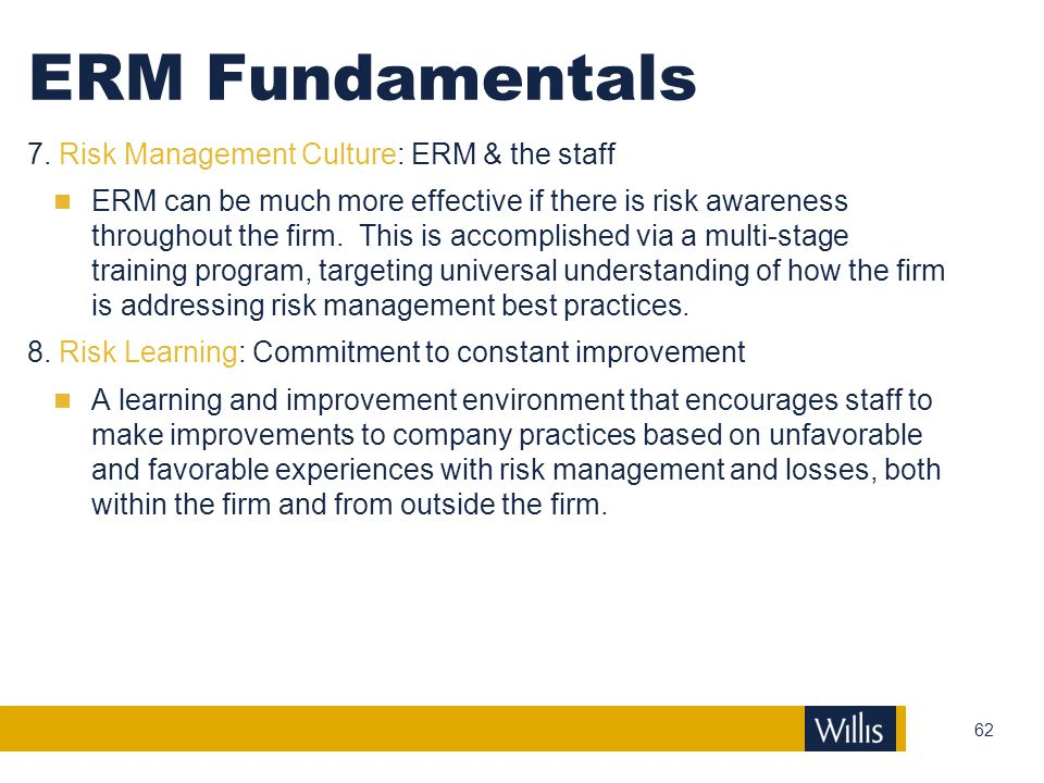 ERM Fundamentals 7. Risk Management Culture: ERM & the staff