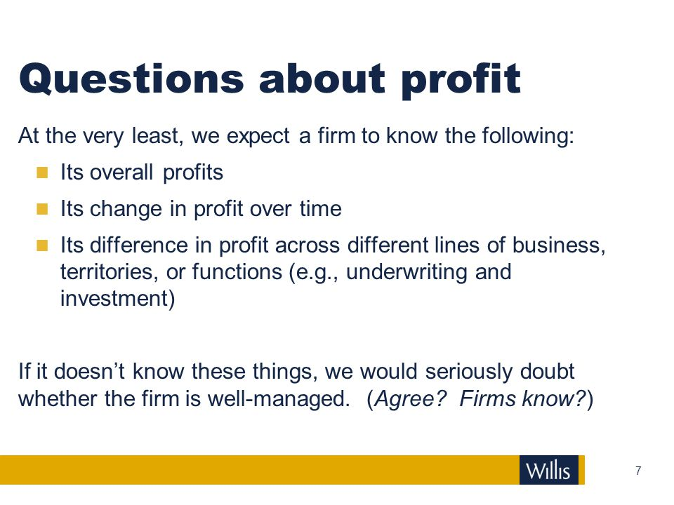 Questions about profit