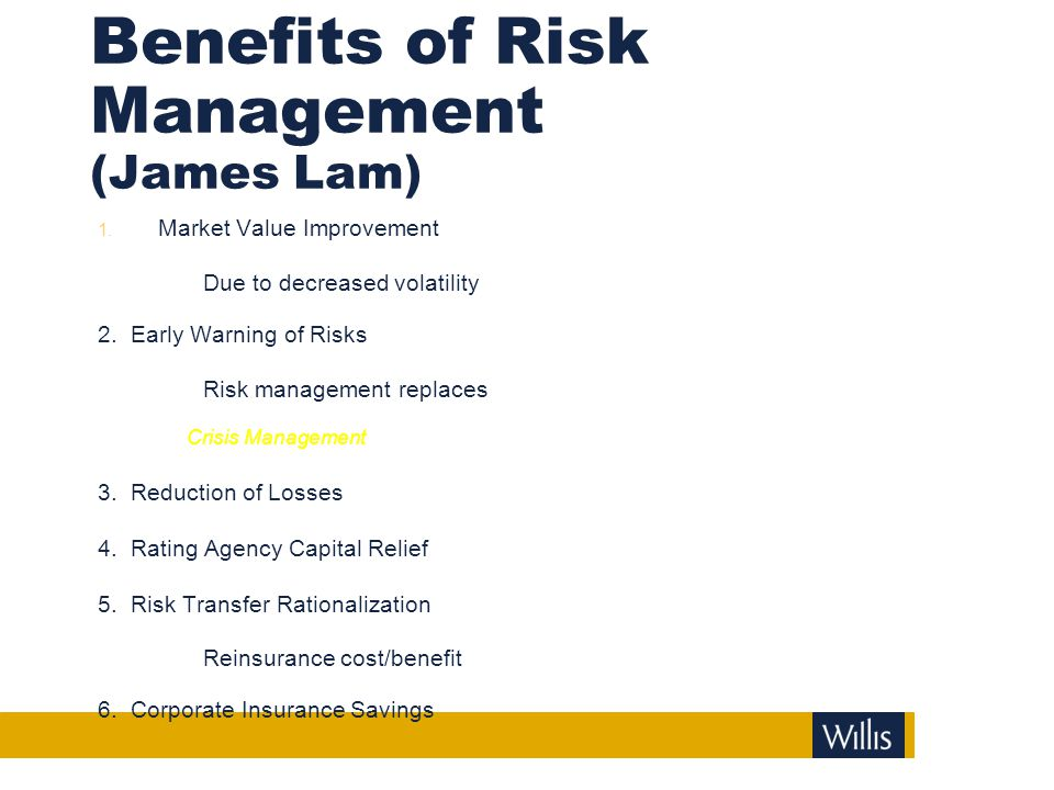Benefits of Risk Management (James Lam)