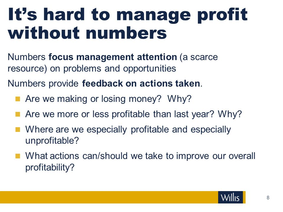 It's hard to manage profit without numbers